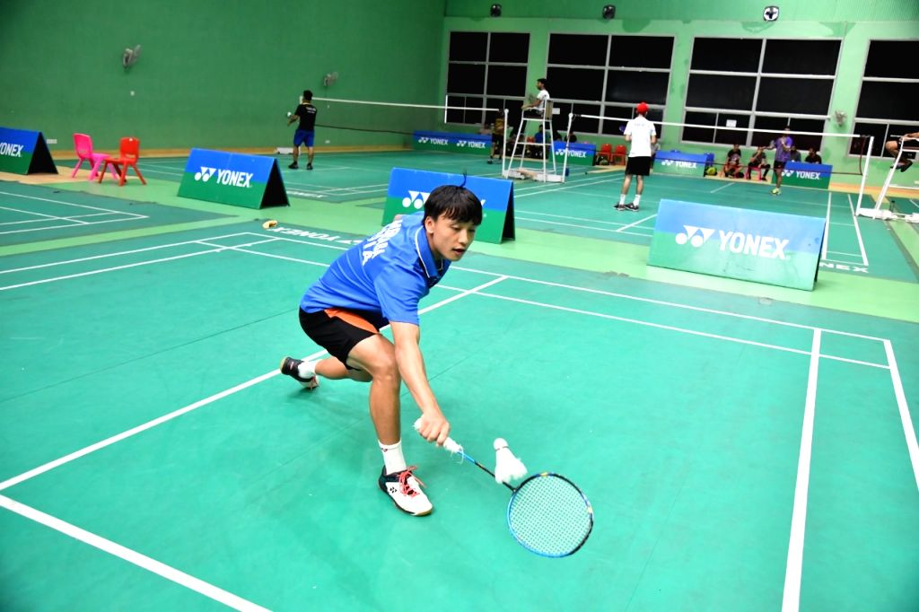 Shuttler Maisnam Meiraba during a training session ahead of the Asian Junior Championships, at the Tau Devi Lal Stadium in Haryana's Panchkula.