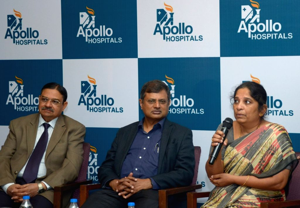 Shylaja, who successfully underwent a rare treatment to brain aneurysm swelling of the wall of an arteryduring a press conference in Bengaluru on July 6, 2017. Also seen Senior ... - Mohan Rao