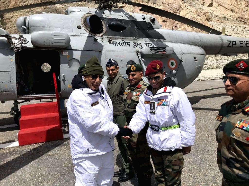 Siachen: Defence Minister Rajnath Singh during his visit to the Siachen Army Base Camp in Jammu and Kashmir, on June 3, 2019. (Photo: IANS) - Rajnath Singh