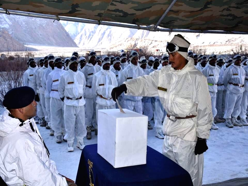Siachen: Indian Army personnel deployed at Jammu and Kashmir's Siachen cast their votes as service voters for the first phase of 2019 Lok Sabha elections, on April 11, 2019. (Photo: IANS)