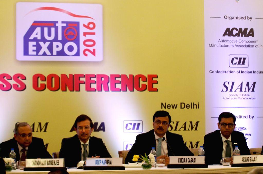 SIAM President Vinod K Dasari addresses a press conference regarding Auto Expo 2016  in New Delhi, on Jan 14, 2016.
