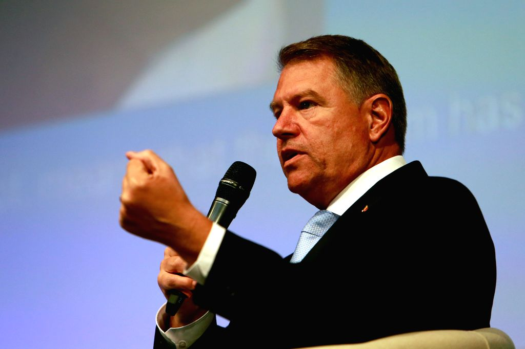 SIBIU (ROMANIA), May 8, 2019 Romanian President Klaus Iohannis attends the Young citizens' dialogue in Sibiu, Romania, on May 8, 2019, a day before the start of the informal meeting of ...