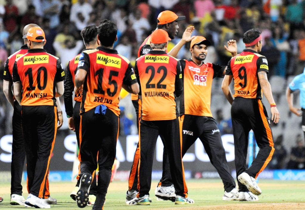 Siddarth Kaul of Sunrisers Hyderabad celebrates fall of Suresh Raina's wicket during the first qualifier match of IPL 2018 between Chennai Super Kings and Sunrisers Hyderabad at Wankhede ...