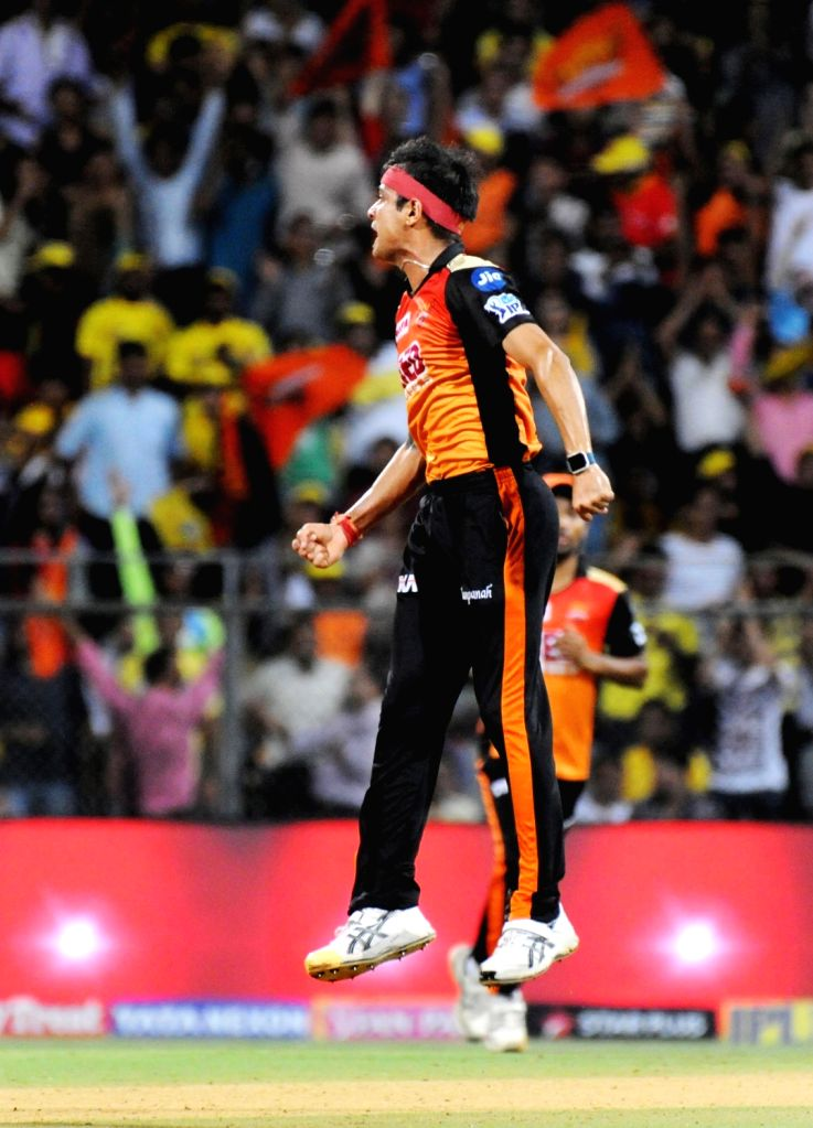 Siddarth Kaul of Sunrisers Hyderabad celebrates fall of Ambati Rayudu's wicket during the first qualifier match of IPL 2018 between Chennai Super Kings and Sunrisers Hyderabad at Wankhede ...