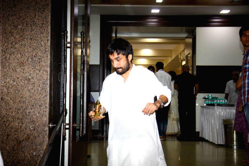 Siddhanth Kapoor during the prayer meet of Pandit Pandharinath Kolhapure, in Mumbai, on Aug 18, 2015. Pandit Pandharinath, who expired on August 15, 2015, is the father of actor Shraddha ... - Shraddha Kapoor, Siddhanth Kapoor and Shivangi Kapoor