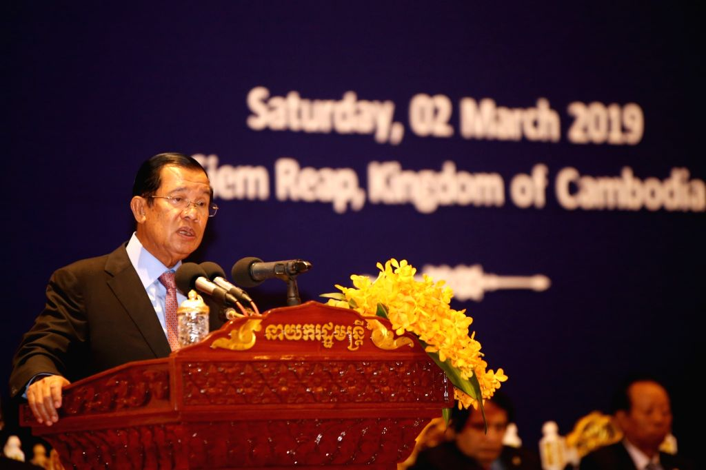 SIEM REAP, March 2, 2019 - Cambodian Prime Minister Samdech Techo Hun Sen speaks during the opening ceremony of the 7th RCEP Intersessional Ministerial Meeting in Siem Reap province, Cambodia, March ... - Samdech Techo Hun Sen