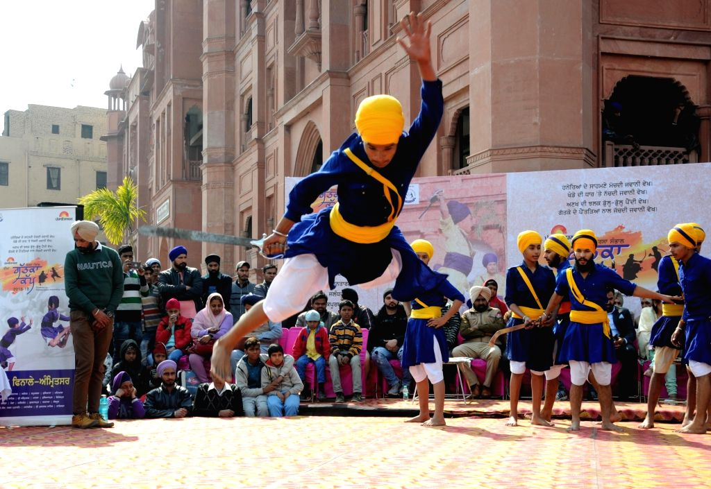 Sikh Nihang during 'Gatka' competition in Amritsar, on  Feb 2, 2019.