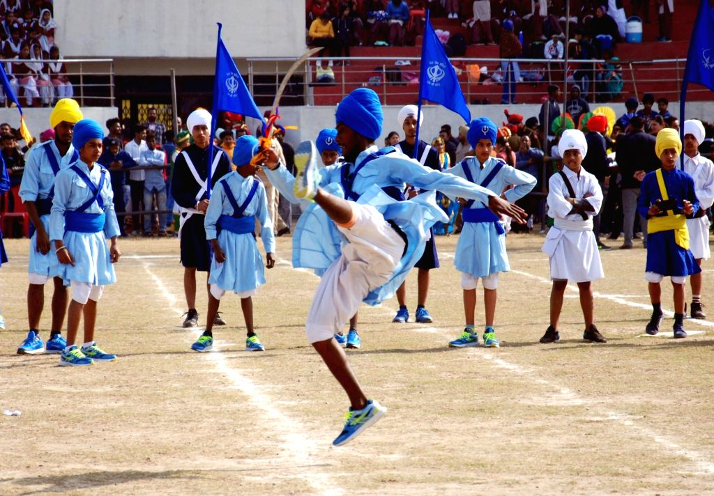 Sikh 'Nihangs' demonstrate their skills during 2019 Republic Day celebrations in Amritsar, on Jan 26, 2019.