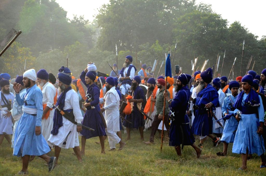 Sikh 'Nihangs' during a religious procession organised on 'Fateh Divas' that marks the victory of the Sikhs against the Mughal Empire in Delhi in 1783, under the leadership of Baba Baghel ... - Baghel Singh