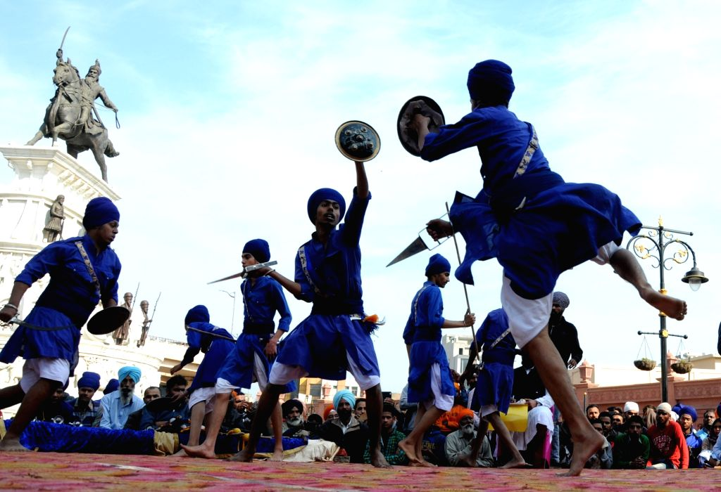 Sikh Nihangs during 'Gatka' competition in Amritsar, on  Feb 2, 2019.