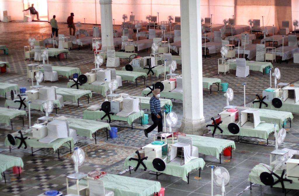 Sikh volunteers set up a temporary Covid care centre (Guru Teg Bahadur Covid Care Center) with 200 beds with Oxygen at Gurudwara Rakab Ganj in new Delhi on Tuesday May 04, 2021