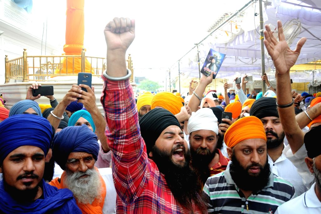 Sikhs stage a demonstration against Operation Blue Star during a programme organised to pay tributes to those killed in the military operation at Golden Temple in Amritsar on June 6, 2018.