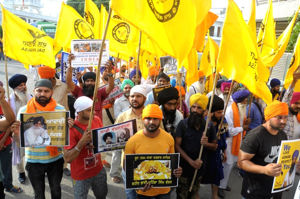 Sikhs stage a participate in a demonstration against Operation Blue Star in Amritsar, on June 5, 2019.