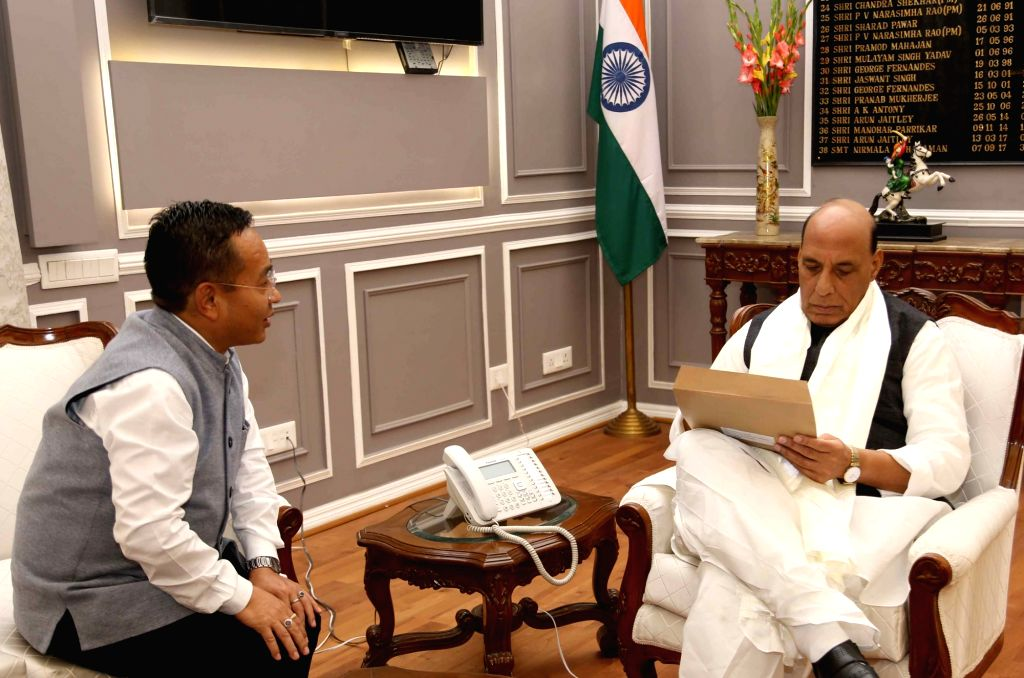 Sikkim Chief Minister Prem Singh Tamang calls on Union Defence Minister Rajnath Singh, in New Delhi on Dec 5, 2019. - Prem Singh Tamang and Rajnath Singh