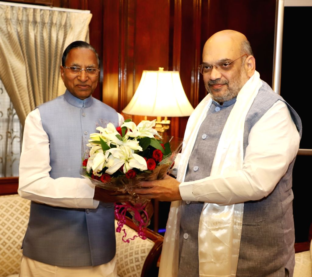 Sikkim Governor Ganga Prasad meets Union Home Minister Amit Shah in New Delhi on June 14, 2019. - Amit Shah