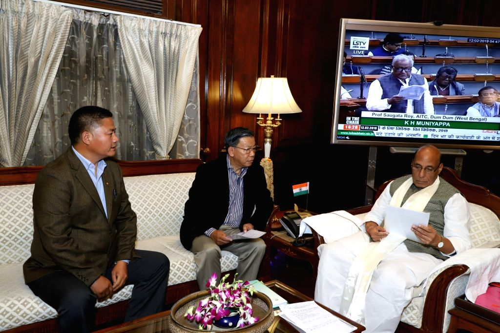 Sikkim MPs PD Rai (Lok Sabha) and Hishey Lachungpa (Rajya Sabha) call on Union Home Minister Rajnath Singh in New Delhi on Feb 12, 2019. - Rajnath Singh