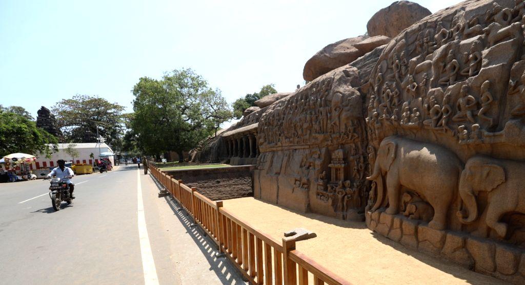 Silence across Historical landmark Pancha Rathas in Mahabalipuram amid COVID-19 outbreak in Tamil Nadu, on 19 March, 2020.