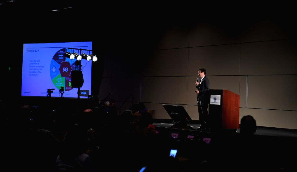 SILICON VALLEY, April 7, 2018 - Sean Harrington, vice president of Verizon, addresses the 2018 Global Smart City Summit (G50) in Santa Clara, Silicon Valley, the United States, on April 6, 2018. The ...
