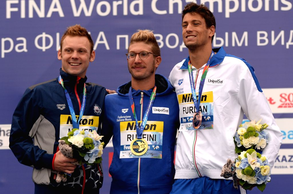 Silver medalist Alex Meyer of the United States, gold medalist Simone Ruffini of Italy and bronze medalist Matteo Furlan of Italy (L to R) pose during the awarding ...