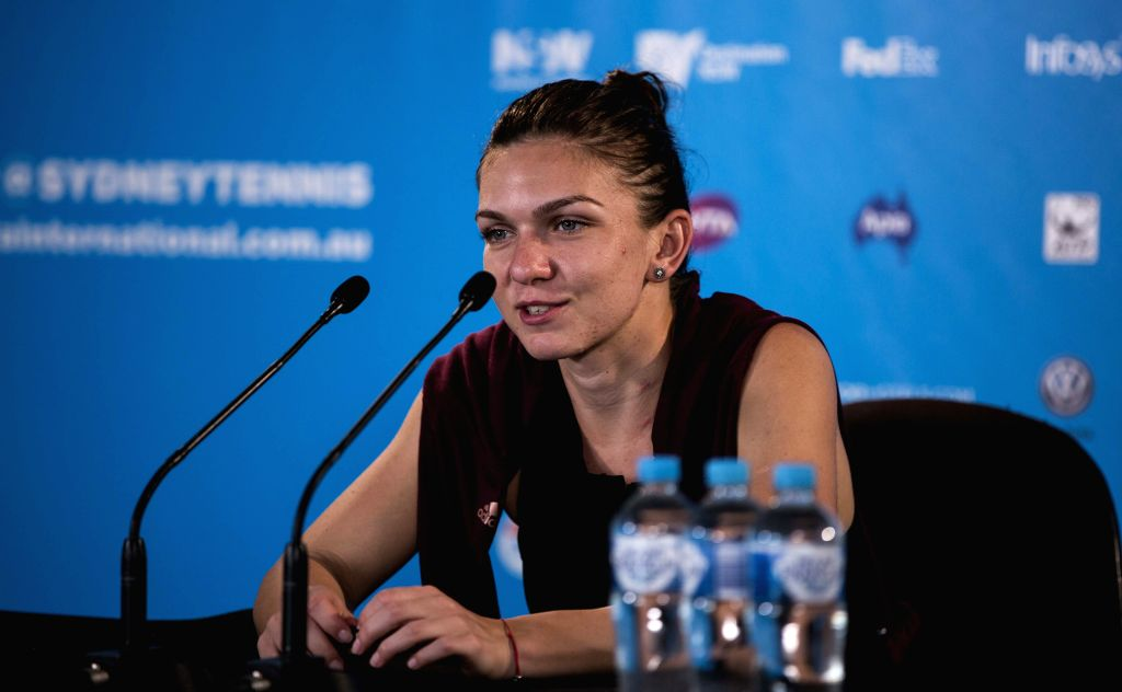 Simona Halep of Romania attends a press conference after the women's singles match against Karolina Pliskova of the Czech Republic during the Apia International ...