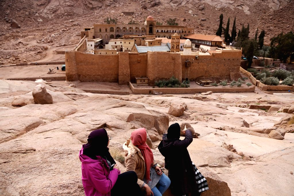 SINAI, Feb. 6, 2019 - Tourists visit the Saint Catherine's Monastery at the foot of Mount Sinai in Saint Catherine, South Sinai Province, Egypt, Feb. 6, 2019. The monastery is one of the oldest ...