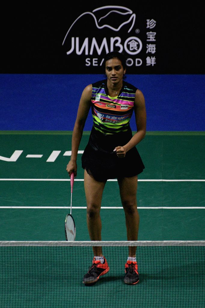 SINGAPORE, April 12, 2019 - Pusarla V. Sindhu of India reacts during the women's singles quarterfinal match against Cai Yanyan of China at Singapore Badminton Open in Singapore on April 12, 2019.