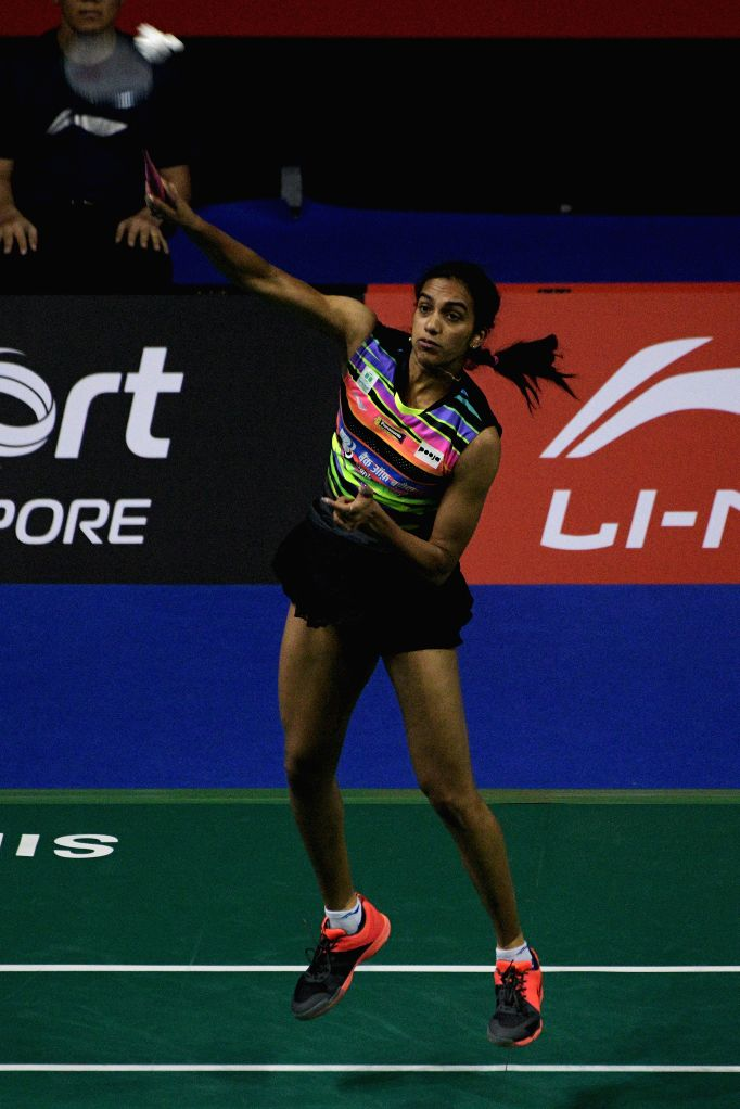 SINGAPORE, April 12, 2019 - Pusarla V. Sindhu of India competes during the women's singles quarterfinal match against Cai Yanyan of China at Singapore Badminton Open in Singapore on April 12, 2019.