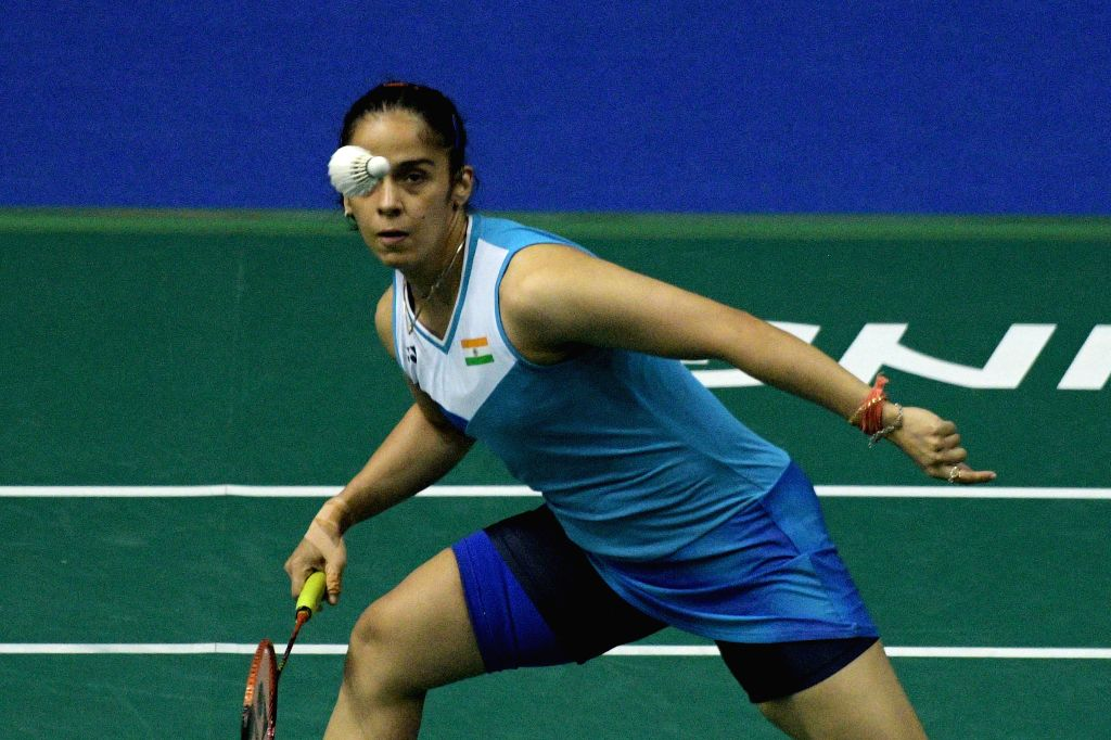 SINGAPORE, April 12, 2019 - Saina Nehwal of India competes during the women's singles quarterfinal match against Nozomi Okuhara of Japan at Singapore Badminton Open in Singapore on April 12, 2019.