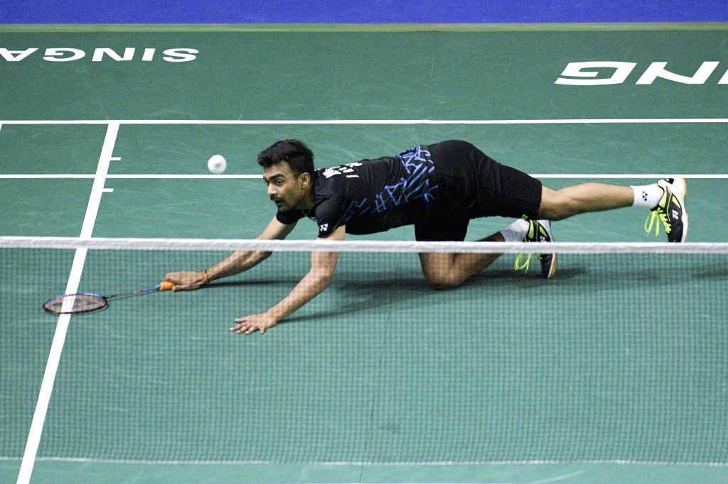 SINGAPORE, April 12, 2019 - Sameer Verma of India competes during the men's singles quarter-finals match between Sameer Verma of India and Chou Tien Chen of Chinese Taipei at the Singapore Badminton ... - Sameer Verma