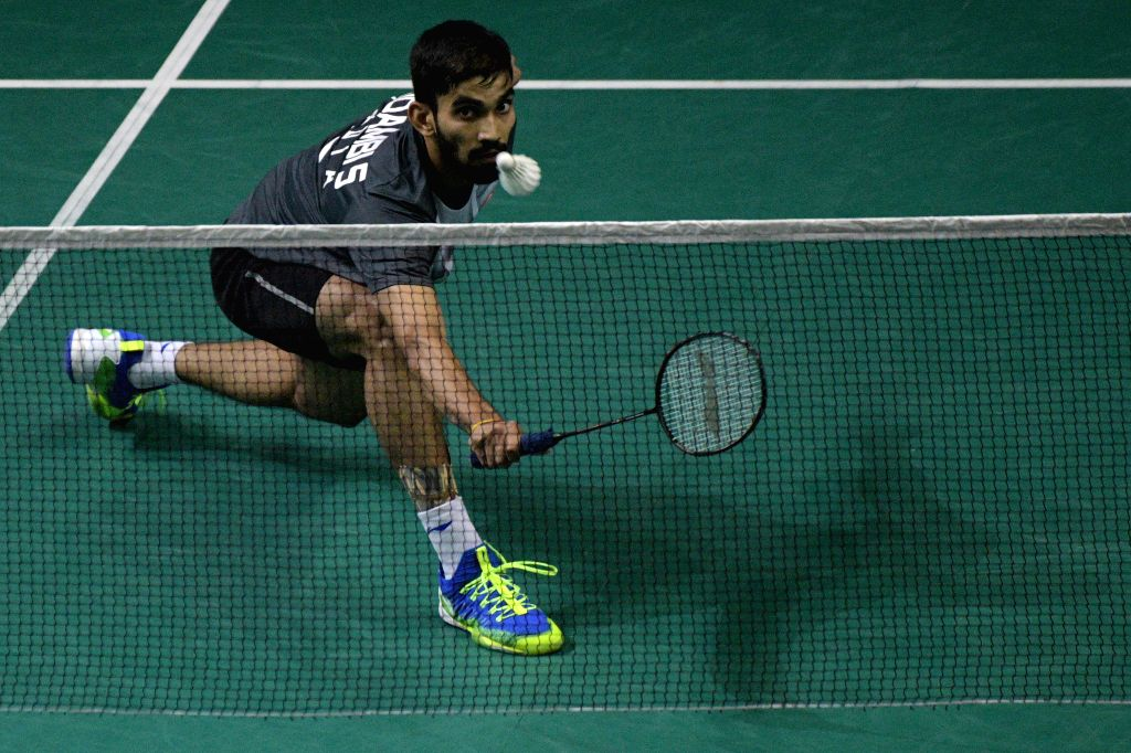 SINGAPORE, April 12, 2019 - Srikanth Kidambi of India competes during the men's singles quarterfinal match against Kento Momota of Japan at Singapore Badminton Open in Singapore on April 12, 2019.