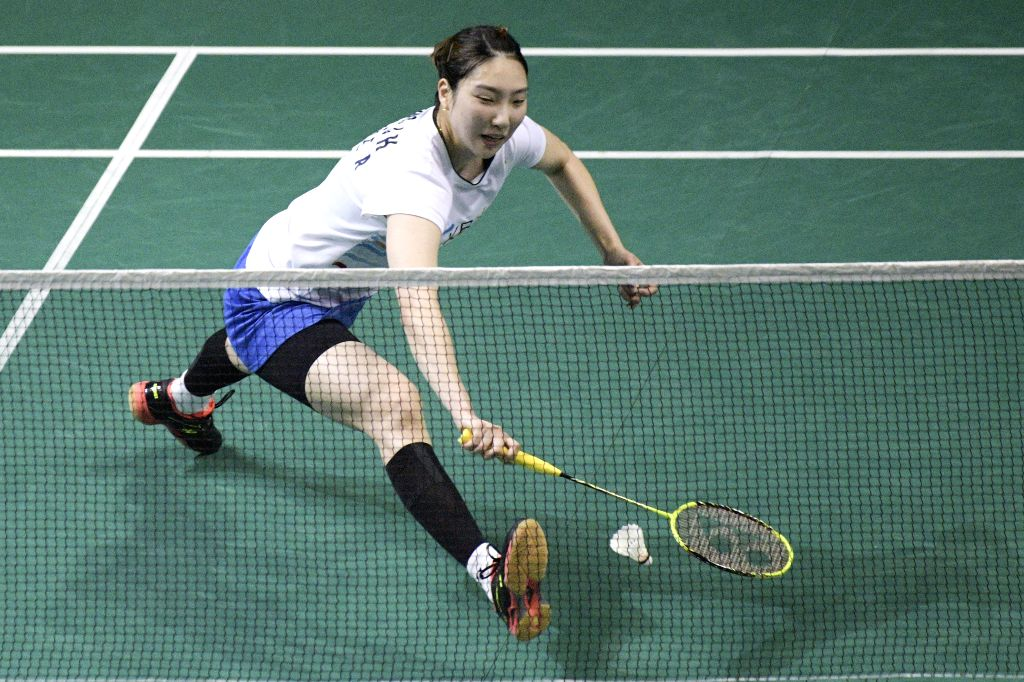 SINGAPORE, April 12, 2019 - Sung Ji Hyun of South Korea competes during the women's singles quarter-finals match between Sung Ji Hyun of South Korea and Tai Tzu Ying of Chinese Taipei at the ...