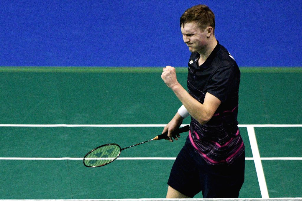 SINGAPORE, April 12, 2019 - Viktor Axelsen of Denmark reacts during the men's singles quarterfinal match against Jonatan Christie of Indonesia at Singapore Badminton Open in Singapore on April 12, ...