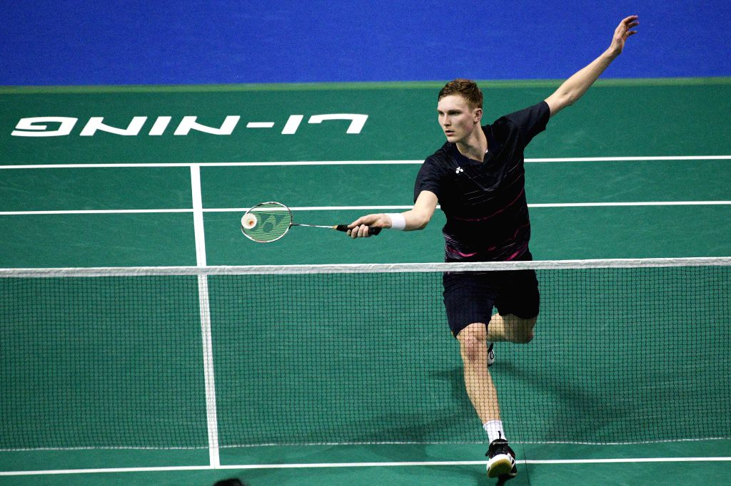 SINGAPORE, April 12, 2019 - Viktor Axelsen of Denmark competes during the men's singles quarterfinal match against Jonatan Christie of Indonesia at Singapore Badminton Open in Singapore on April 12, ...
