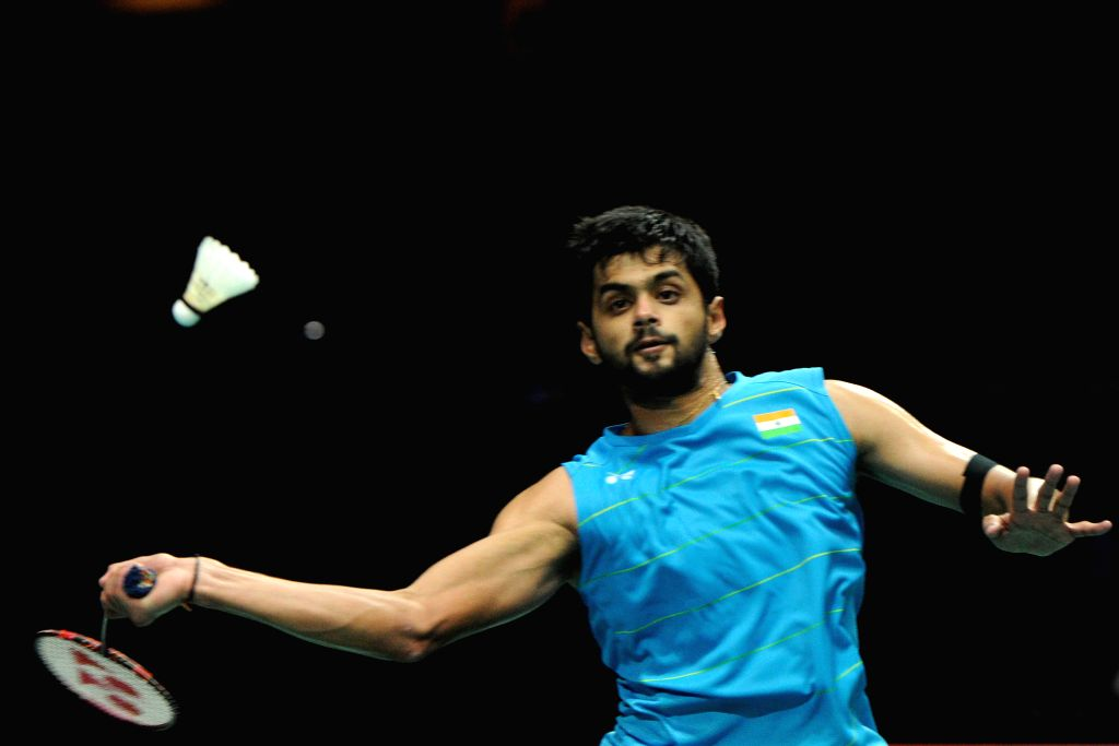 SINGAPORE, April 16, 2017 - India's Sai Praneeth competes during the men's singles final match against India's Kidambi Srikanth at the OUE Singapore Open in Singapore, April 16, 2017. Sai Praneeth ...
