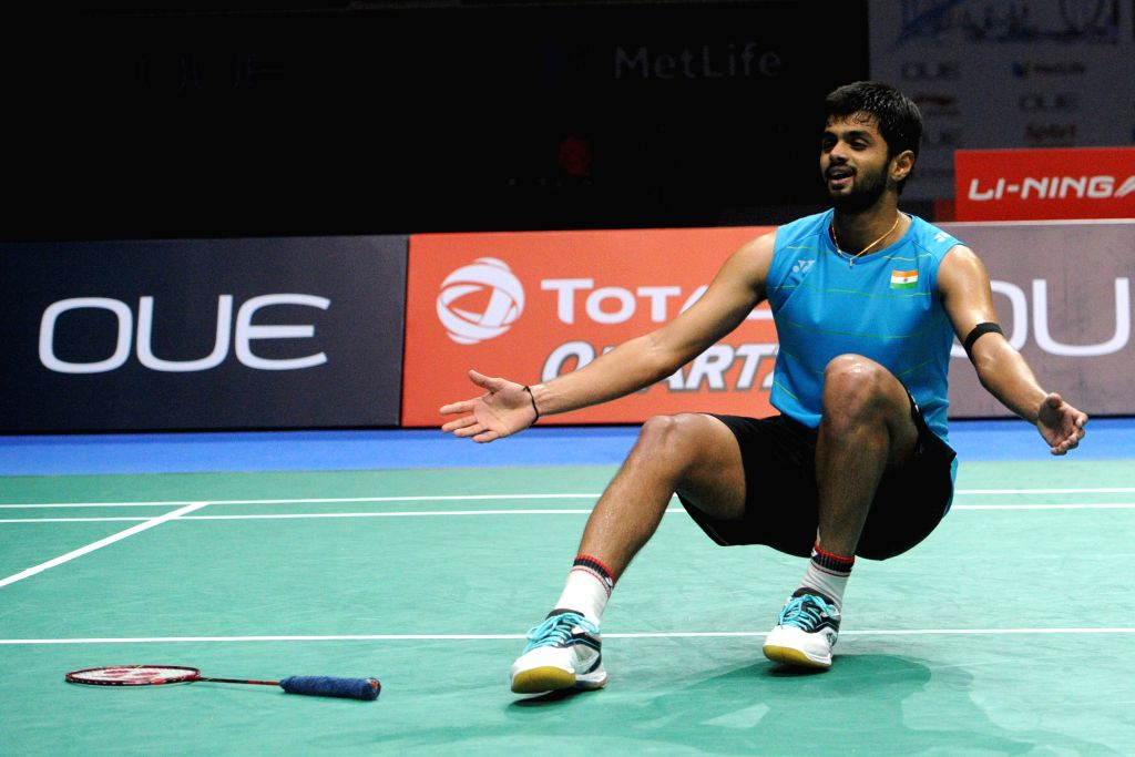 SINGAPORE, April 16, 2017 (Xinhua) -- India's Sai Praneeth celebrates victory after the men's singles final match against India's Kidambi Srikanth at the OUE Singapore Open in Singapore, April 16, 2017. Sai Praneeth won 2-1 to claim the title. (Xinhu