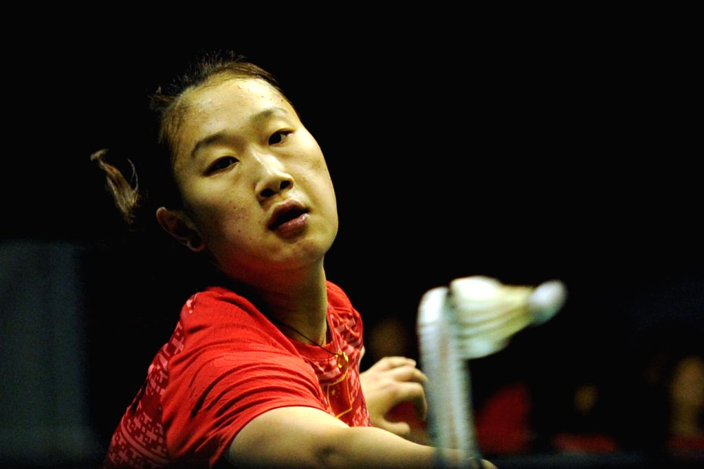 SINGAPORE, April 17, 2016 - China's player Sun Yu hits the shuttle cock during the OUE Singapore Open women's singles final match against Thailand's player Ratchanok Intanon held at Singapore Indoor ...