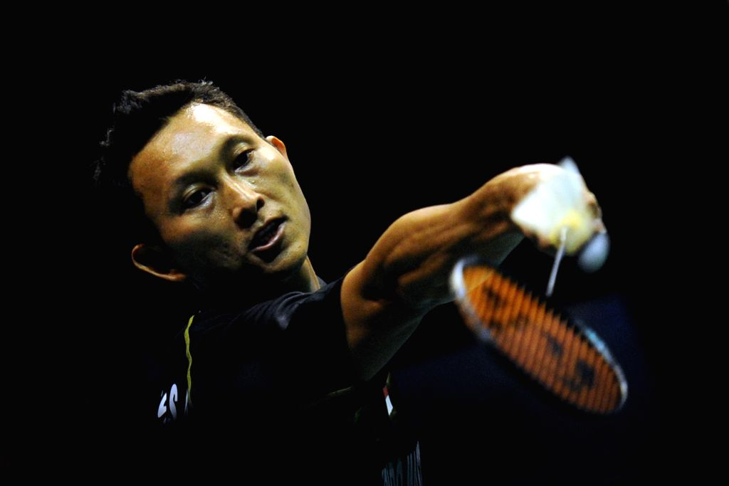 SINGAPORE, April 17, 2016 - Sony Dwi Kuncoro of Indonesia competes during the men's singles final match against Son Wan Ho of South Korea at the OUE Singapore Open in Singapore Indoor Stadium, April ...