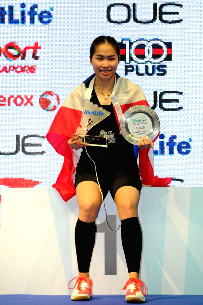SINGAPORE, April 17, 2016 - Thailand's player Ratchanok Intanon attends the awarding ceremony after winning her OUE Singapore Open women's singles final match against China's player Sun Yu held at ...
