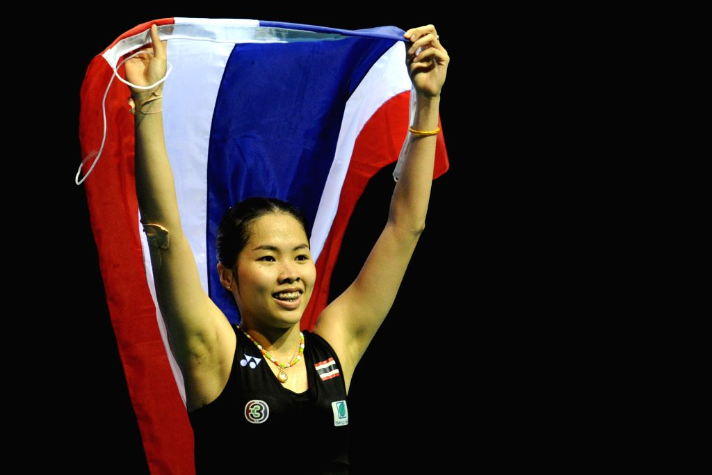 SINGAPORE, April 17, 2016 - Thailand's Ratchanok Intanon celebrates victory after the OUE Singapore Open women's singles final match against China's Sun Yu in Singapore, April 17, 2016. Ratchanok ...