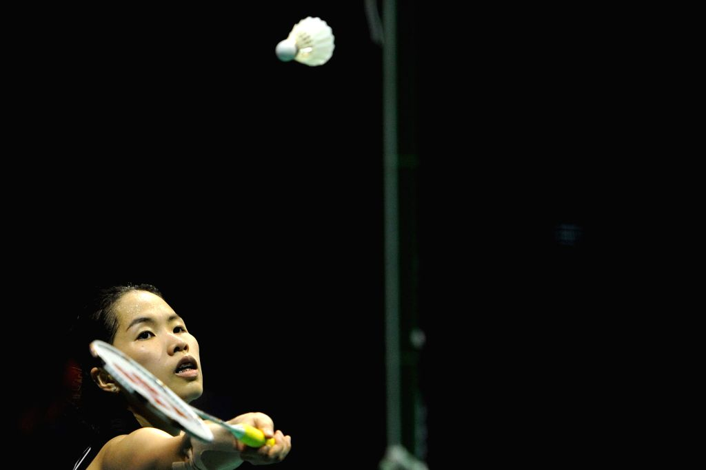 SINGAPORE, April 17, 2016 - Thailand's Ratchanok Intanon competes during the OUE Singapore Open women's singles final match against China's Sun Yu in Singapore, April 17, 2016. Ratchanok Intanon won ...