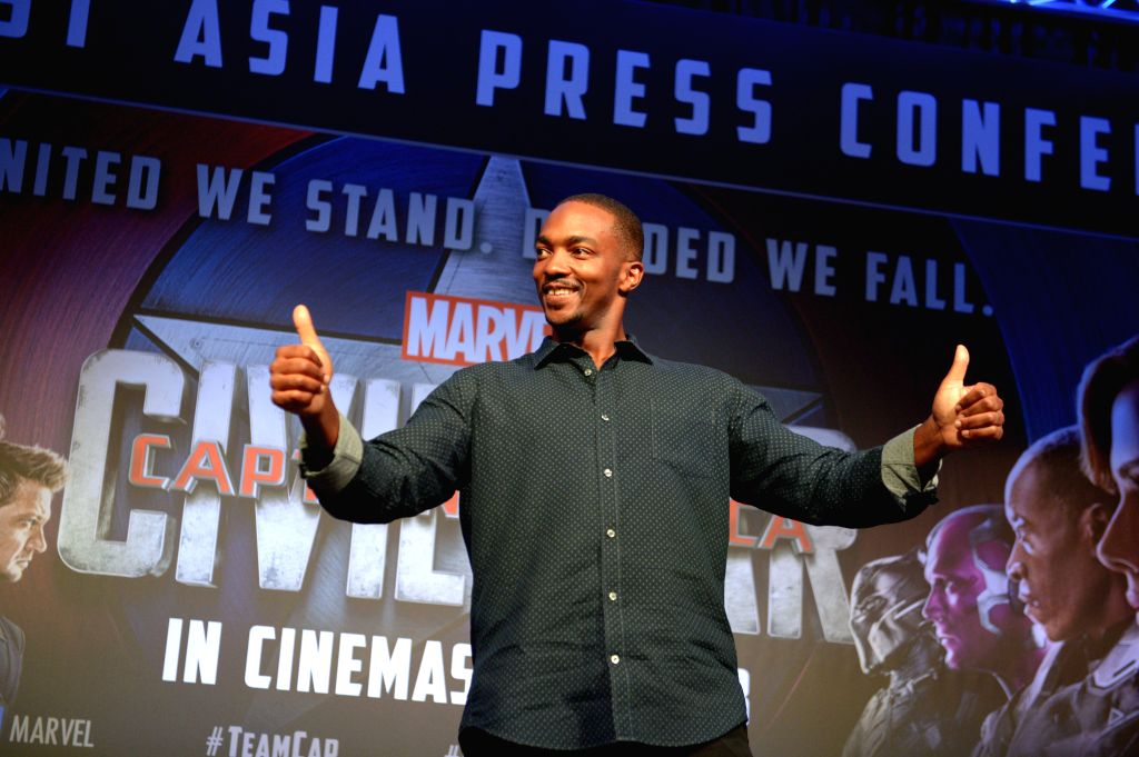 "SINGAPORE, April 21, 2016 - Actor Anthony Mackie attends the press conference of the movie ""Captain America 3: Civil War"" at Singapore's Marina Bay Sands, on April 21, 2016. - Anthony Mackie"