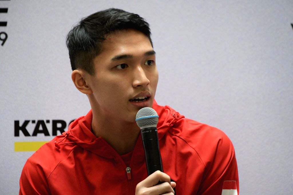 SINGAPORE, April 9, 2019 - Jonatan Christie of Indonesia attends the pre-match press conference of the Singapore Badminton Open held in Singapore on April 9, 2019.