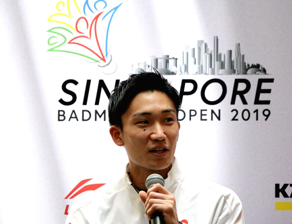 SINGAPORE, April 9, 2019 - Kento Momota of Japan attends the pre-match press conference of the Singapore Badminton Open held in Singapore on April 9, 2019.