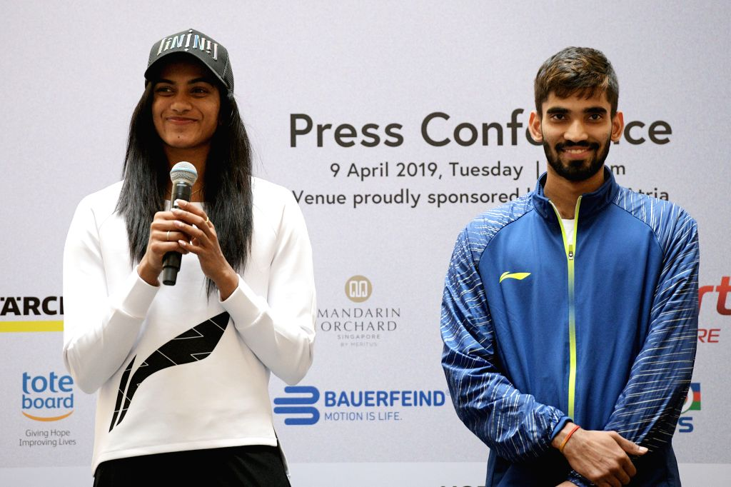SINGAPORE, April 9, 2019 - Pusarla V. Sindhu (L) and Kidambi Srikanth of India attend the pre-match press conference of the Singapore Badminton Open held in Singapore on April 9, 2019.