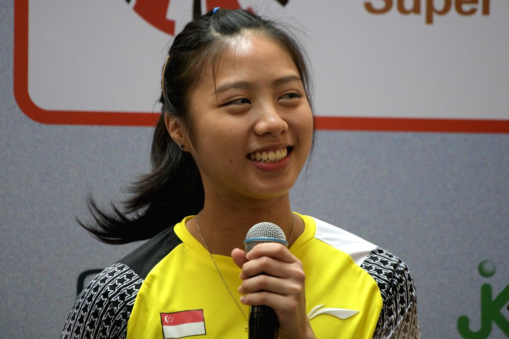 SINGAPORE, April 9, 2019 - Yeo Jia Min of Singapore attends the pre-match press conference of the Singapore Badminton Open held in Singapore on April 9, 2019.