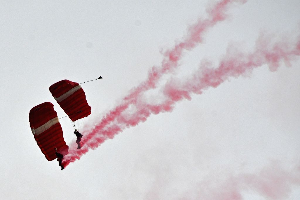 SINGAPORE, Aug. 9, 2017 - Singapore Armed Forces' Red Lions parachutists perform during the national day parade and celebration held in Singapore's Marina Bay on Aug. 9, 2017. Singapore celebrated ...