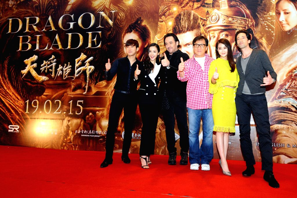"""Actors and actresses Choi Si-won, Mika Wang, John Cusack, Jackie Chan, Lin Peng and Adrien Brody (from L to R) attend the press conference of movie """"Dragon .. - Choi S"""