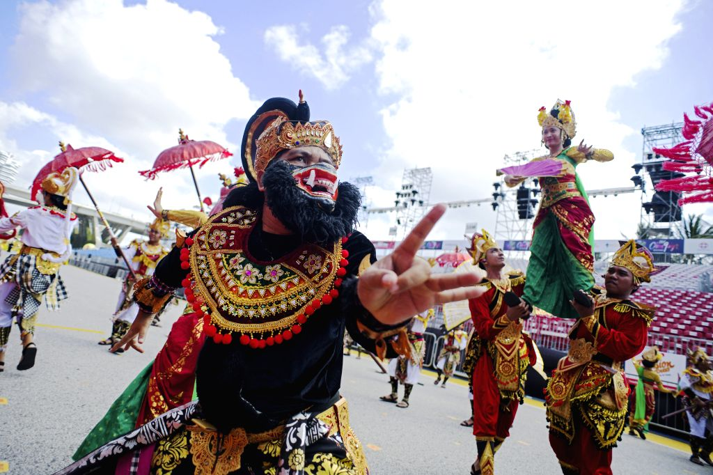 SINGAPORE, Feb. 14, 2019 - Performers from Indonesian troupe perform for the media preview of Chingay Parade at the F1 Pit Building in Singapore, Feb 14, 2019. The Chingay Parade will be held at ...