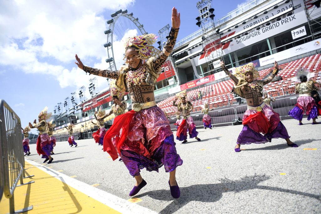 SINGAPORE, Feb. 14, 2019 - Performers from the Philippines troupe perform for the media preview of Chingay Parade at the F1 Pit Building in Singapore, Feb 14, 2019. The Chingay Parade will be held at ...