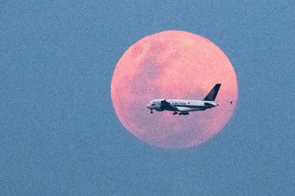 SINGAPORE, Feb. 19, 2019 - An airplane flies against the rising full moon on the eastern coast of Singapore on Feb. 19, 2019.